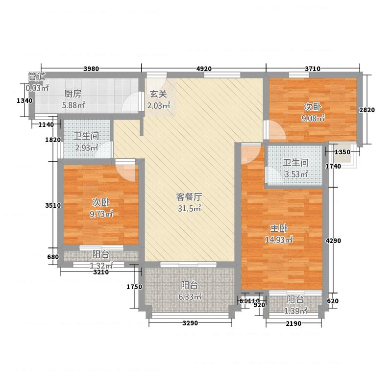 浩创梧桐郡21126.36㎡2号楼B1-4-2户型3室2厅2卫1厨