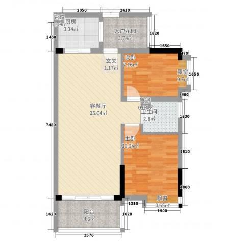 百合嘉园2室1厅1卫1厨83.00㎡户型图