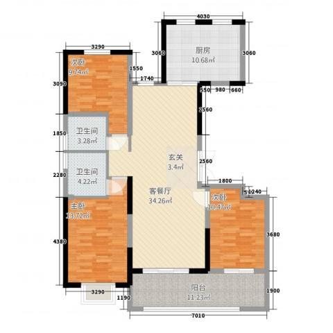 海门翠湖天地3室1厅2卫1厨97.60㎡户型图