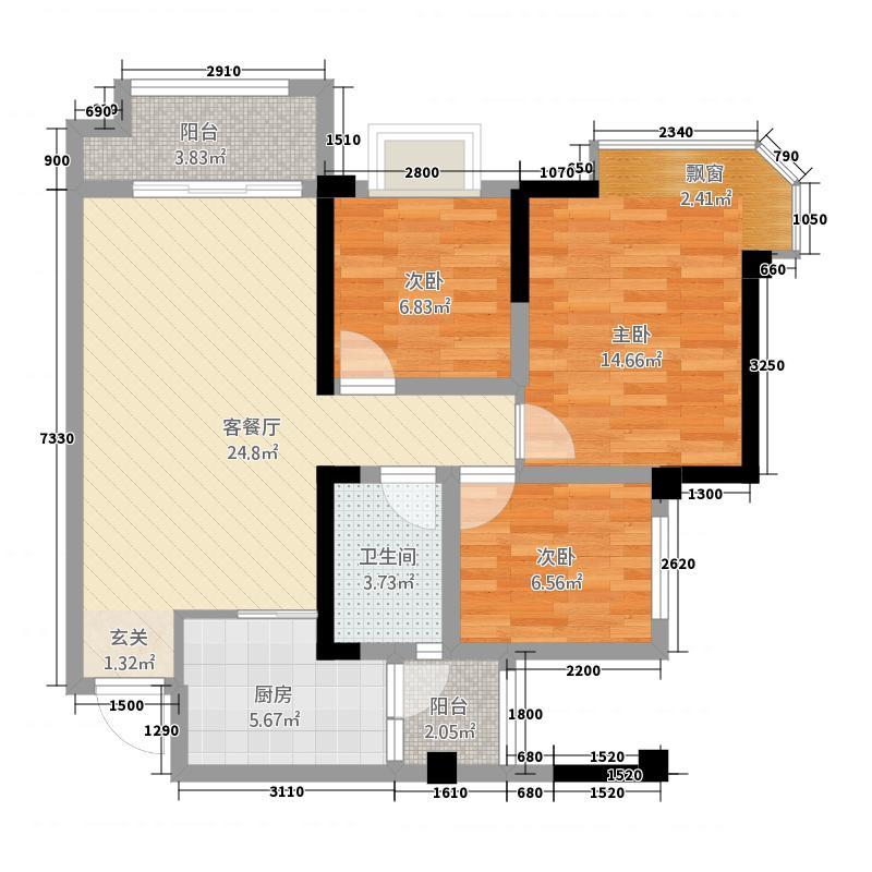 蓝光COCO香江2期81.37㎡B户型3室2厅1卫1厨