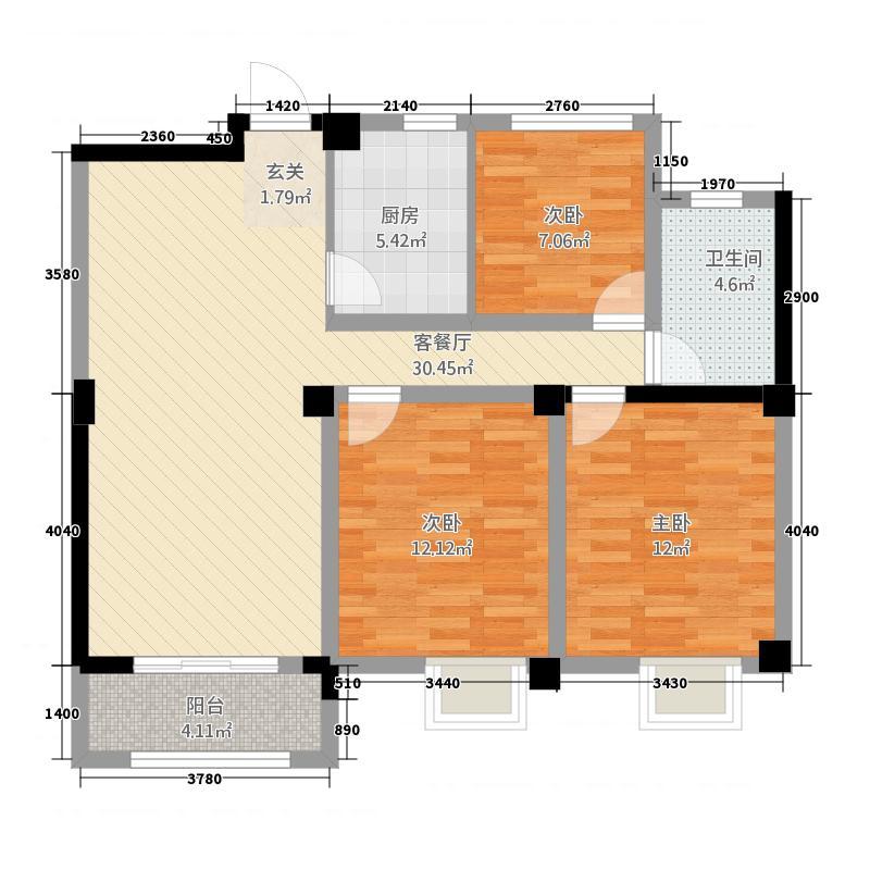 世贸广场3116.20㎡户型3室2厅1卫1厨