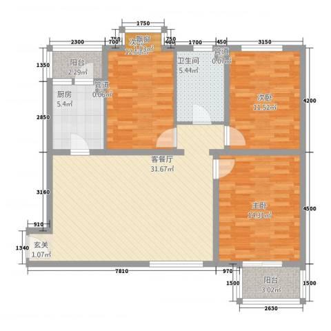 大龙新村3室1厅1卫1厨122.00㎡户型图