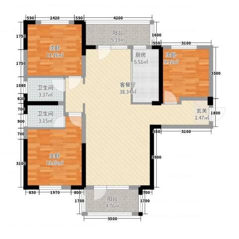 满庭春MOMΛ3室1厅2卫1厨3128.00㎡户型图