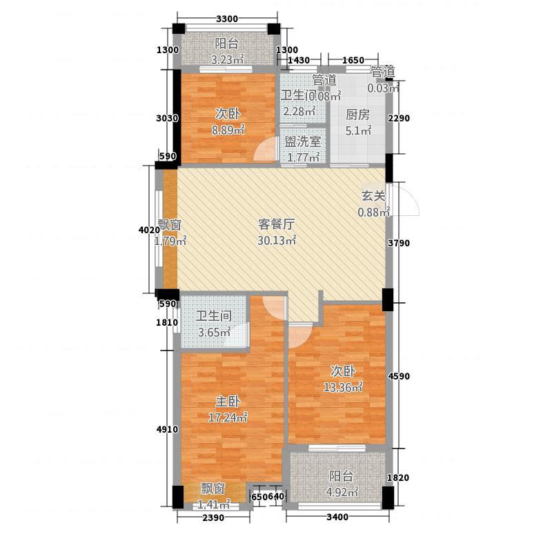 桃花源1222115.13㎡E户型2室2厅2卫1厨