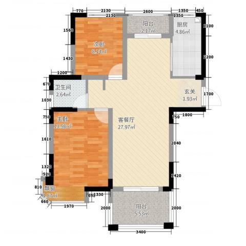 新安・达观天下2室1厅1卫1厨189.00㎡户型图
