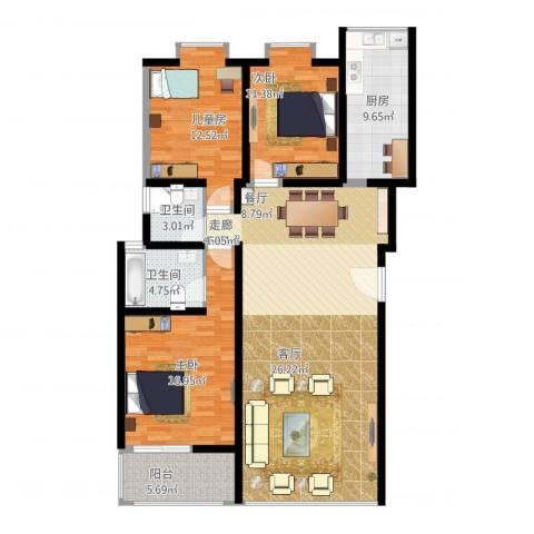 中华坊云岭3室1厅2卫1厨154.00㎡户型图