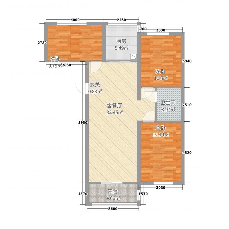 学府花苑17.20㎡户型3室2厅1卫