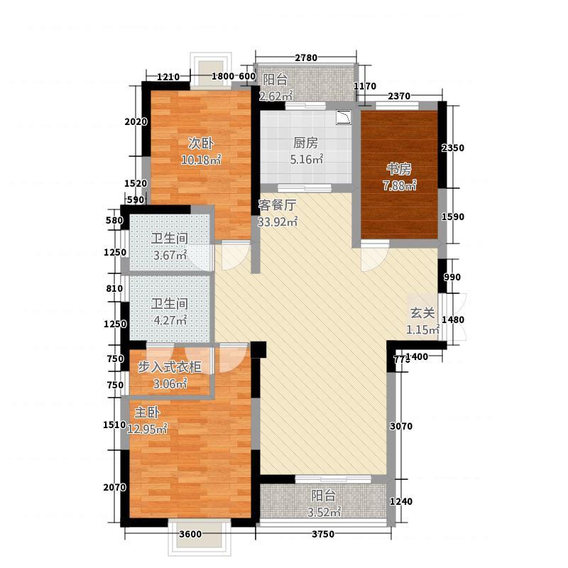 瑞丽星河蓝湾123.20㎡户型3室3厅2卫1厨