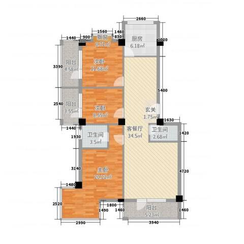 金泽洮水明珠3室1厅2卫1厨141.00㎡户型图