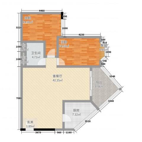 华友大厦2室1厅1卫1厨91.77㎡户型图