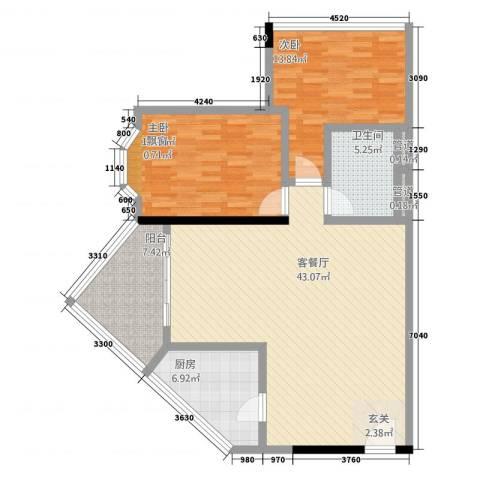 华友大厦2室1厅1卫1厨91.74㎡户型图