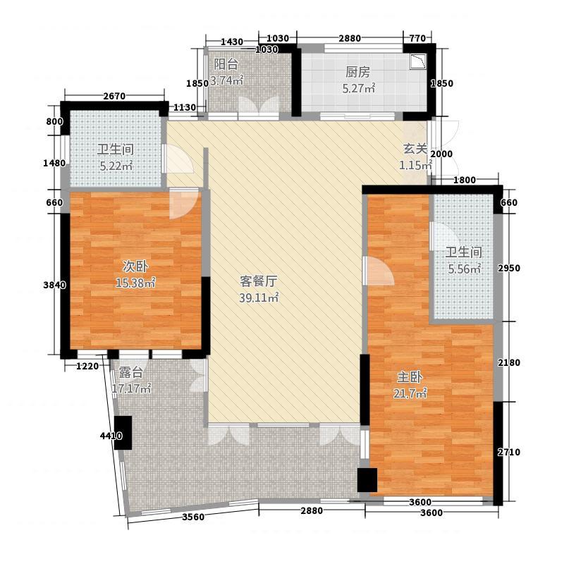 雅居乐海南清水湾173.17㎡翰海银滩洋房SA3栋-F户型2室2厅2卫1厨
