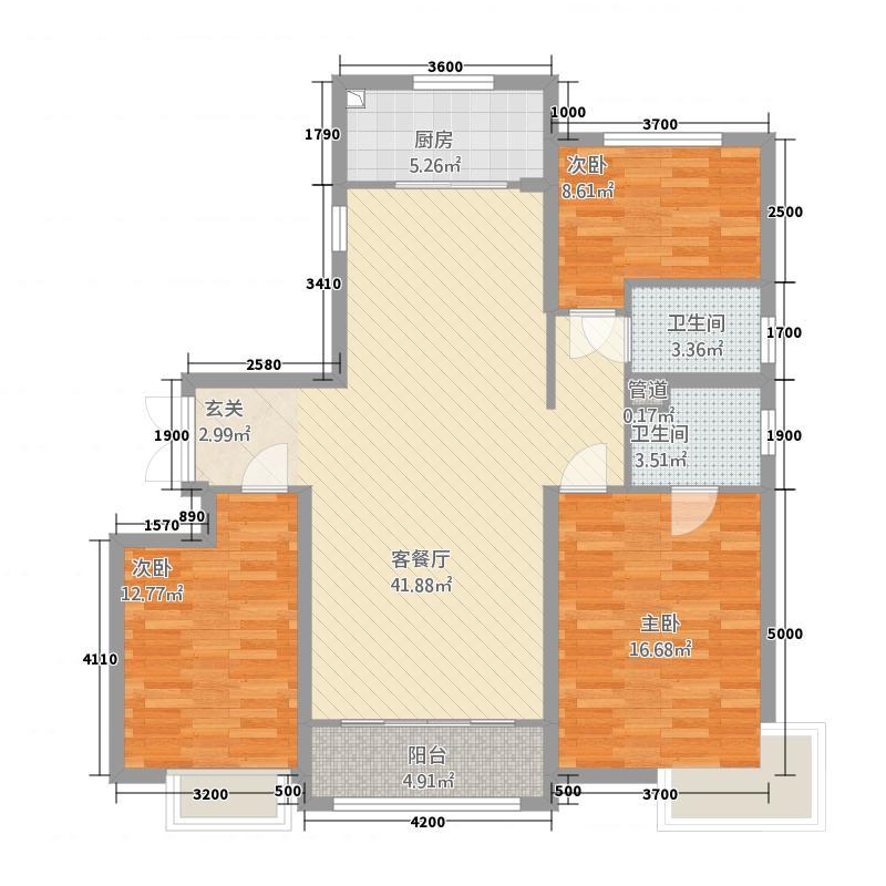 牡丹江万达广场134.50㎡F户型3室2厅2卫1厨
