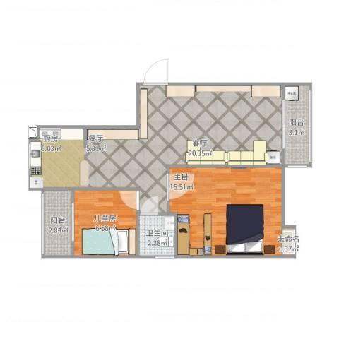 联泰棕榈庄园2室1厅1卫1厨83.00㎡户型图