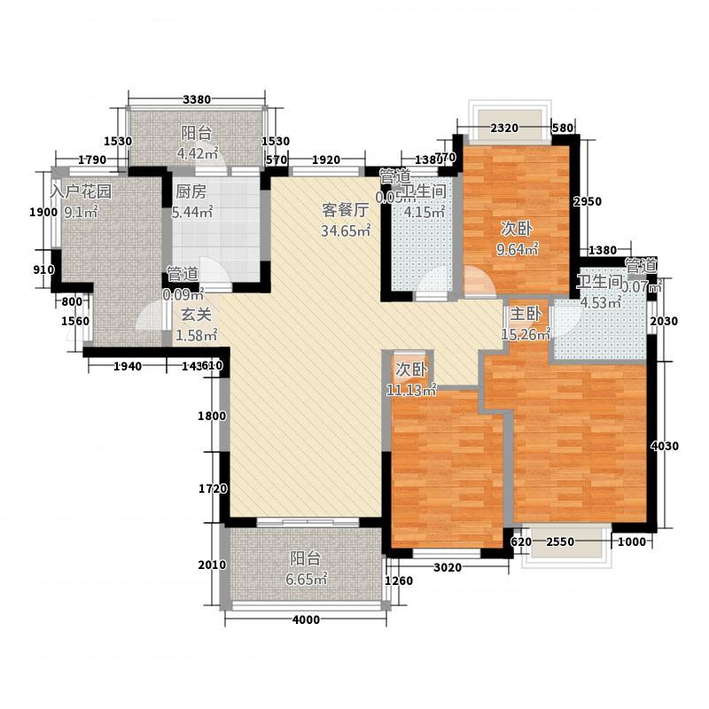 晋合湘水湾131142.81㎡A户型3室1厅2卫2厨