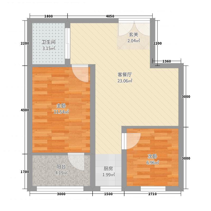 维多利亚花园67.58㎡户型2室1厅1卫1厨