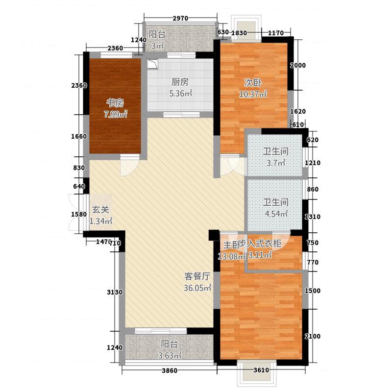 瑞丽星河蓝湾124.20㎡户型3室2厅2卫1厨