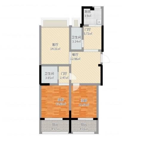 锡春华庭114平2室2厅2卫1厨114.00㎡户型图