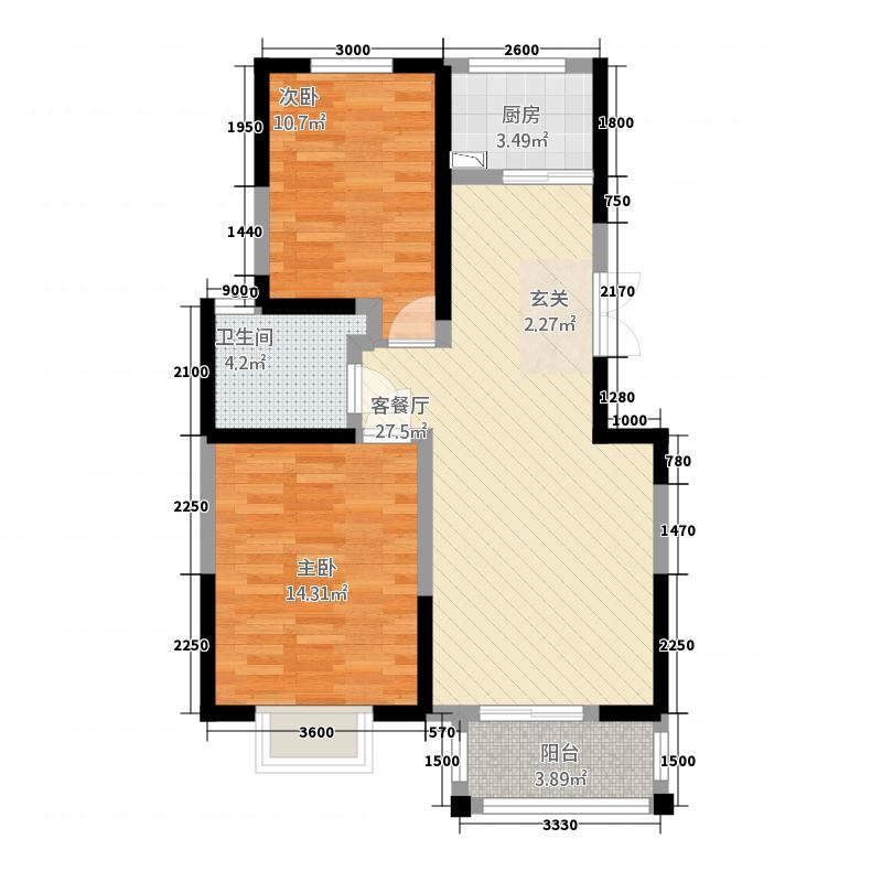 长丰广场大院4.20㎡E户型2室2厅1卫