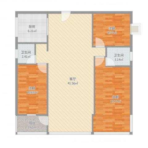 磐金锦绣江南3室1厅2卫1厨128.00㎡户型图