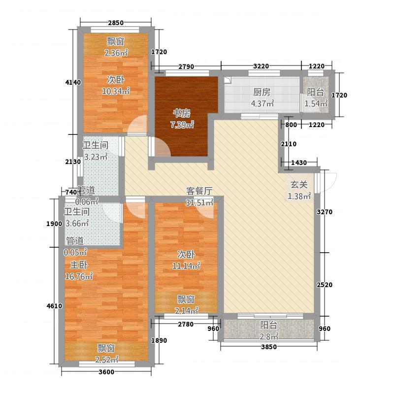 中国中铁・诺德名城135.20㎡H户型4室2厅2卫1厨