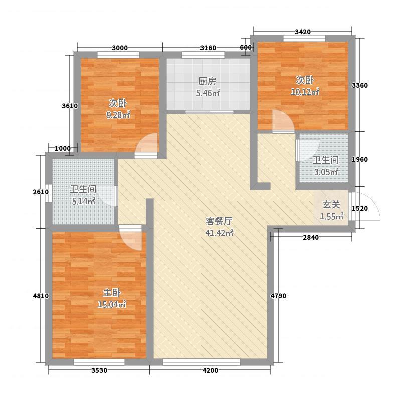 美仑环球港3131.20㎡G3户型3室2厅1卫1厨