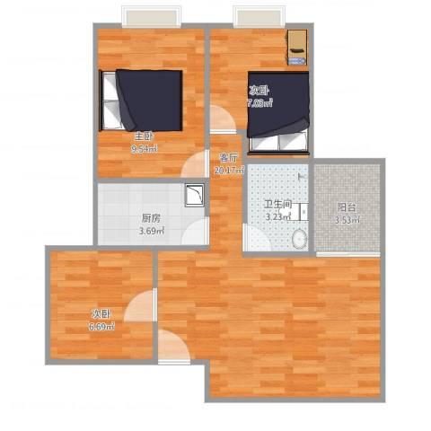 南悦花苑3室1厅1卫1厨74.00㎡户型图