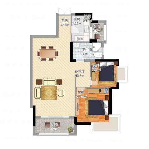龙光海悦城邦2室1厅1卫1厨104.00㎡户型图