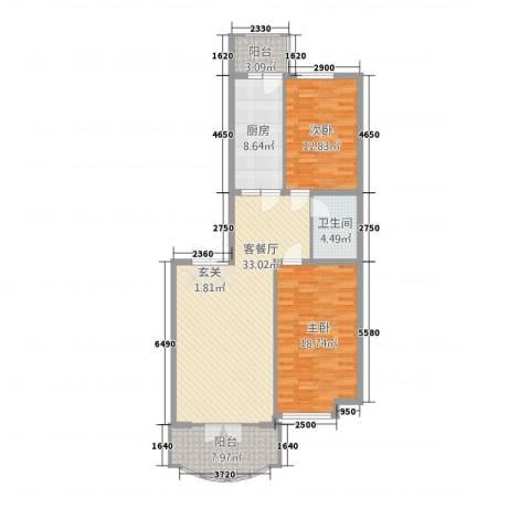 荣耀天地2室1厅1卫1厨123.00㎡户型图