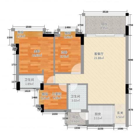 百合嘉园3室1厅2卫1厨83.00㎡户型图