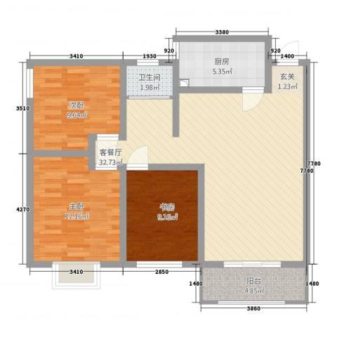峰华都市花园3室1厅1卫1厨109.00㎡户型图