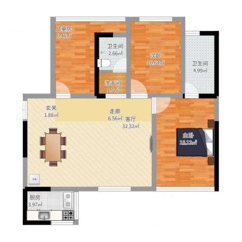 CROSS尚公馆3室1厅2卫1厨116.00㎡户型图