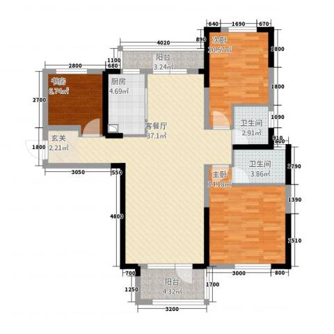 满庭春MOMΛ3室1厅2卫1厨172121.00㎡户型图