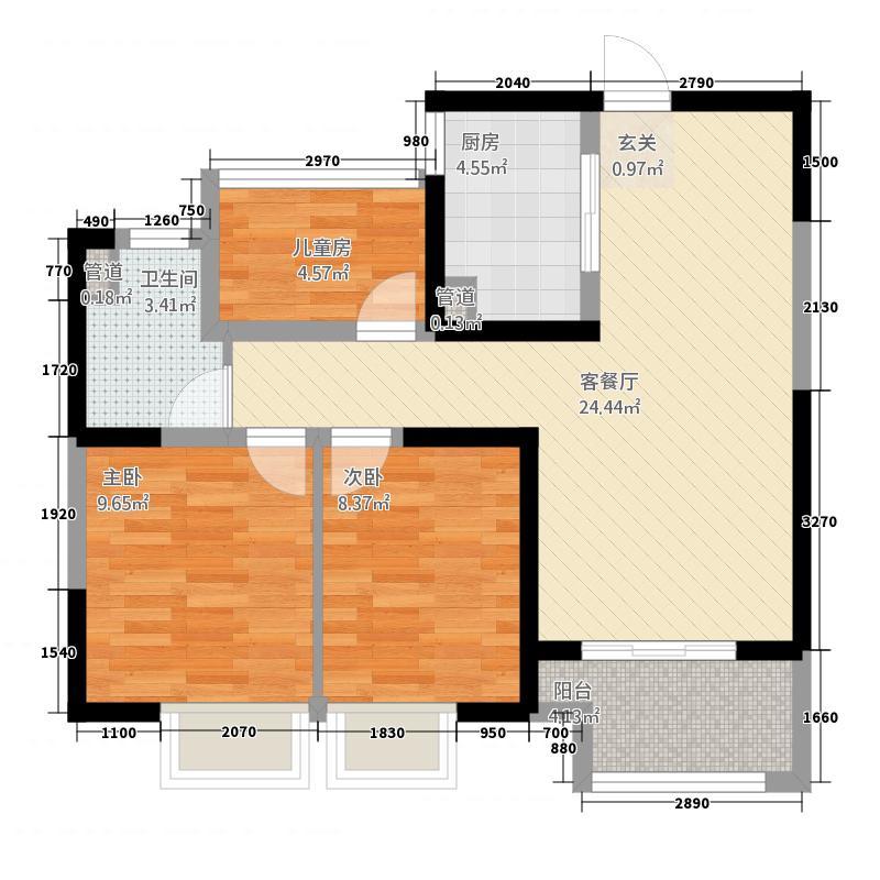 启迪方洲88.20㎡润园标准层B户型3室2厅1卫1厨
