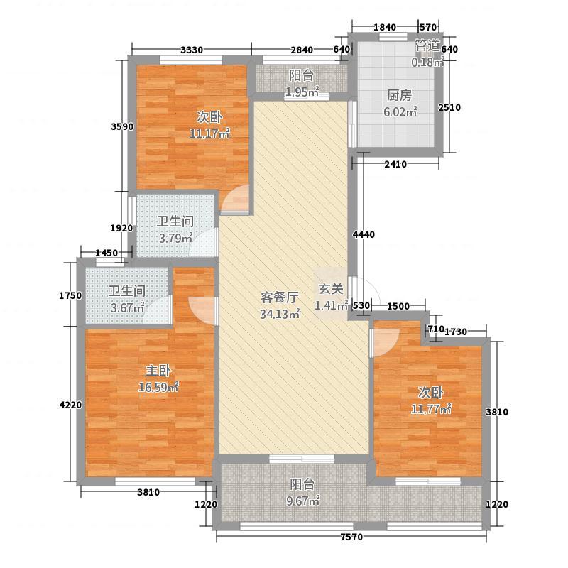 名溪花苑2314.20㎡A2户型3室2厅2卫2厨