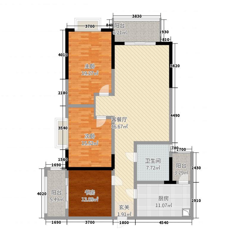 艺家CLASS183.27㎡1栋标准层A2户型3室2厅1卫1厨