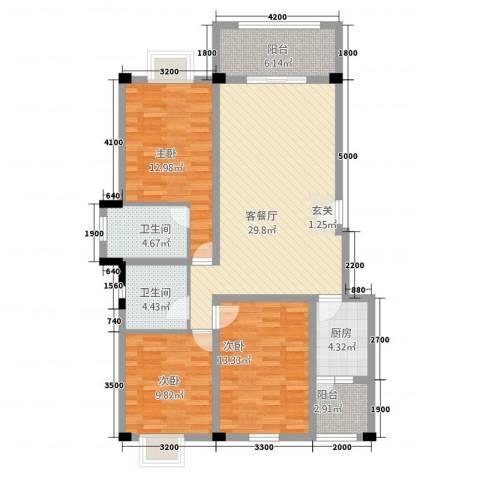 帝乡提亚纳庄园3室1厅2卫1厨88.39㎡户型图