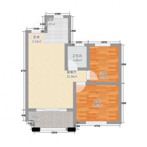 宏基・阳光尚城2室1厅1卫0厨75.00㎡户型图