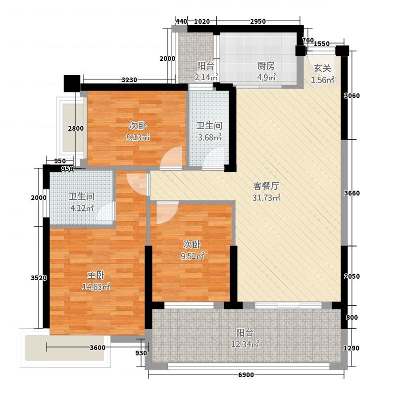海湾1号1783116.63㎡7#8#G户型3室2厅2卫