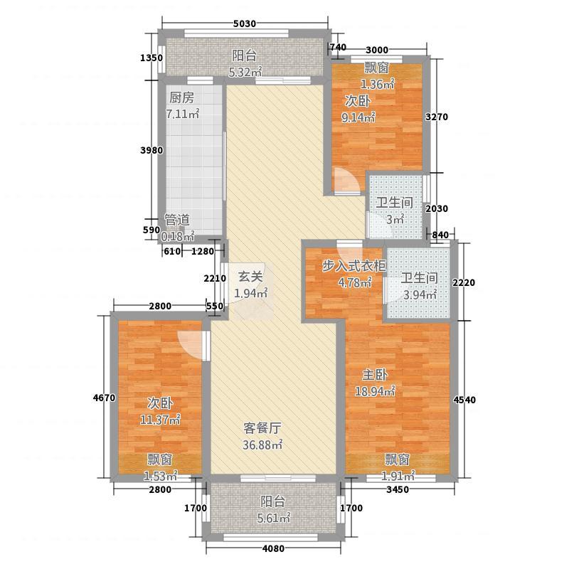海亮世纪新城3123.20㎡C3户型3室2厅2卫1厨