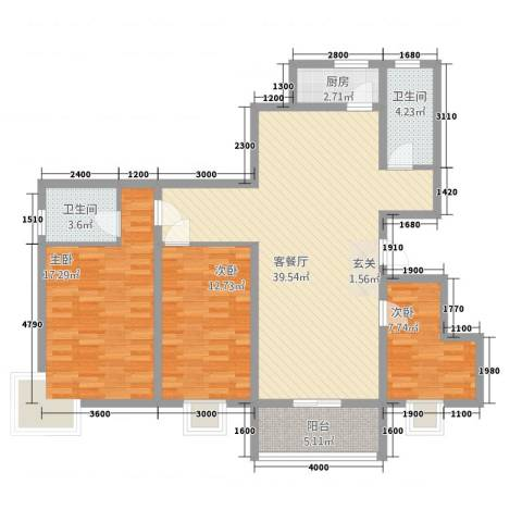 领秀西湖3室1厅2卫1厨133.00㎡户型图