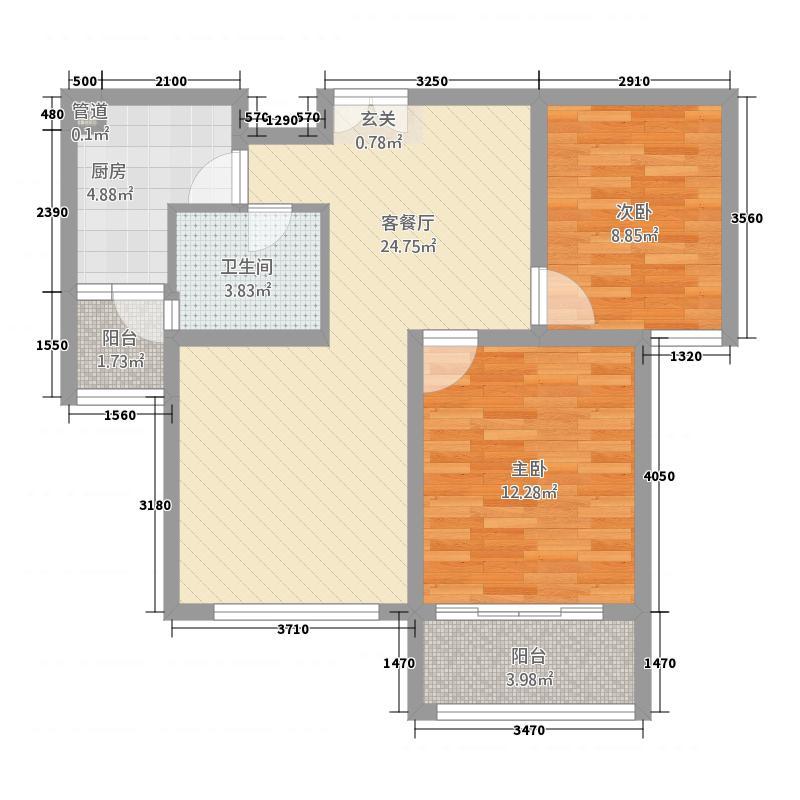 鑫苑景园88.15㎡景园高层M户型2室2厅1卫1厨