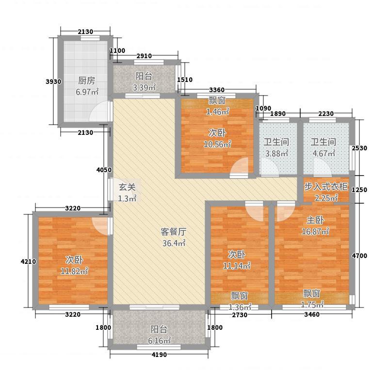 海亮世纪新城2143.20㎡D2户型4室2厅2卫1厨