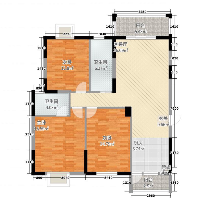 凯旋世纪116.00㎡B1户型3室2厅2卫1厨