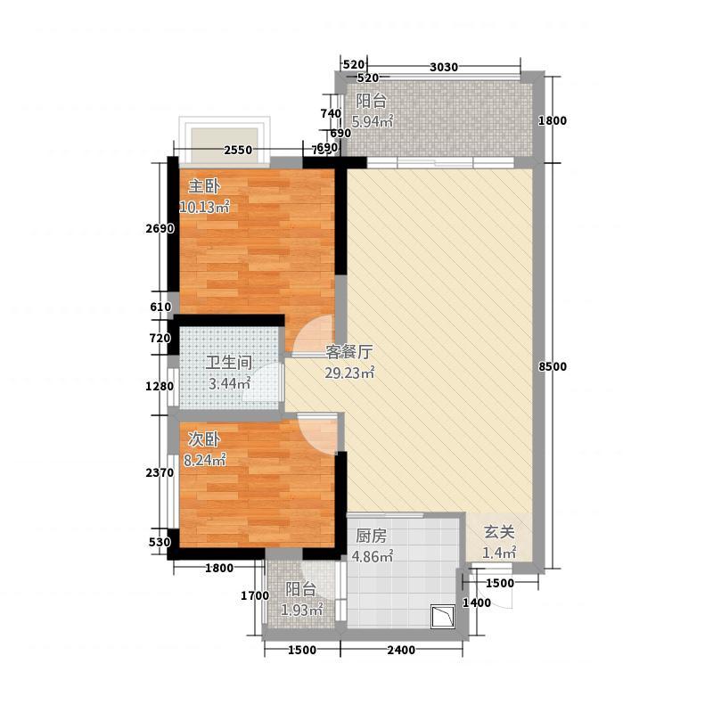 西环财富广场578.22㎡一期5栋、6栋标准层B4户型2室2厅1卫1厨