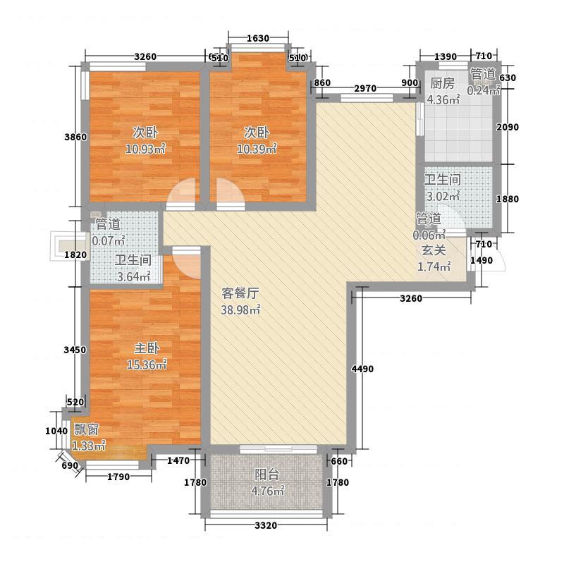 大秦左岸32137.72㎡A户型3室2厅2卫