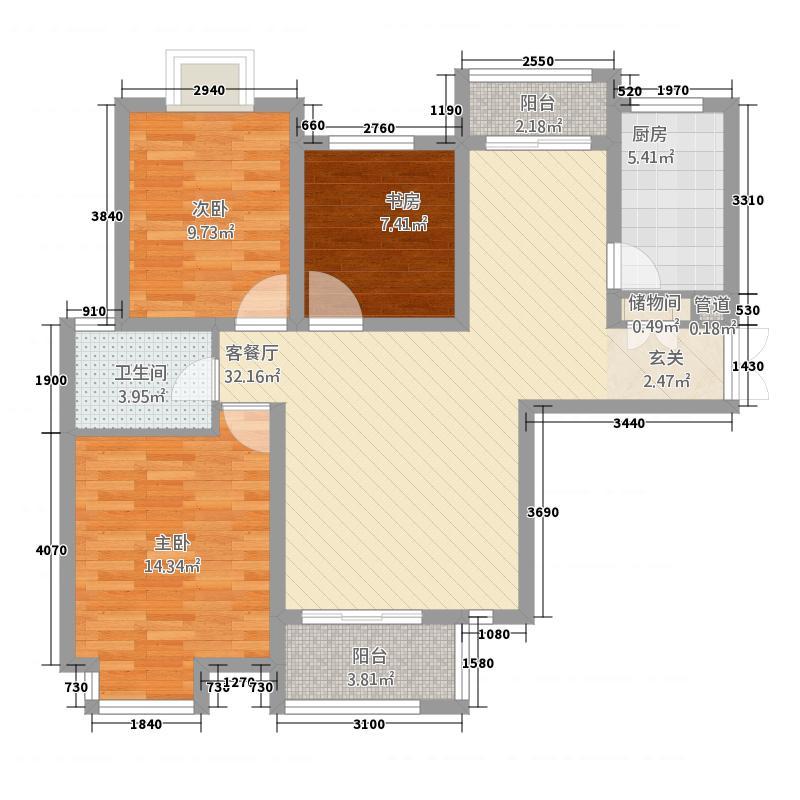 鑫苑景园115.41㎡景园高层O户型3室2厅1卫1厨