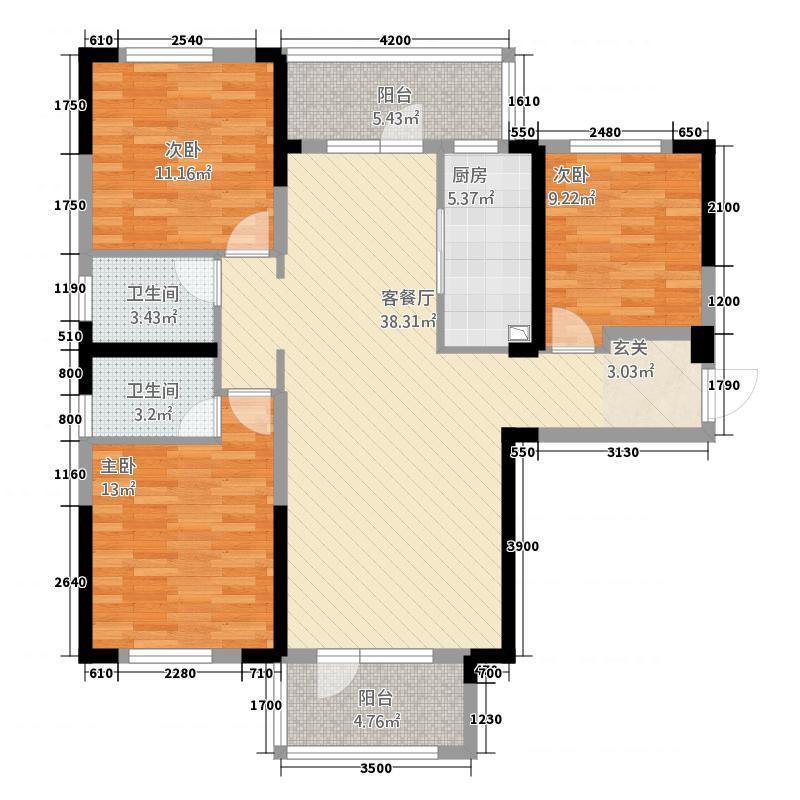 满庭春MOMΛ17127.20㎡17#楼C户型3室2厅2卫1厨