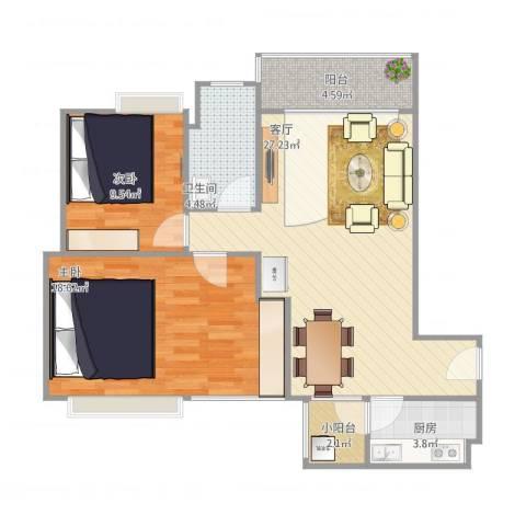 南海钜隆风度广场2室1厅1卫1厨95.00㎡户型图