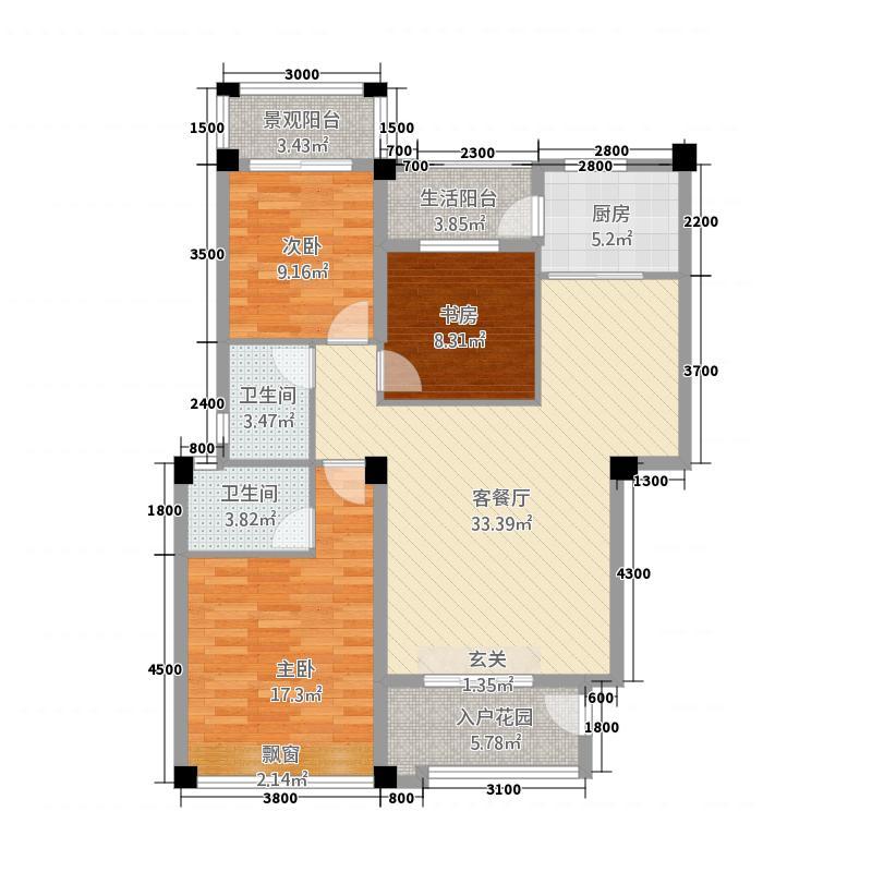 金山郡16114.55㎡二期鹭山湾16-56号楼A户型3室2厅2卫1厨